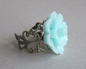 Mint Green Jewelry Mint Ring Mint Rose Ring Mint by Jewelsalem