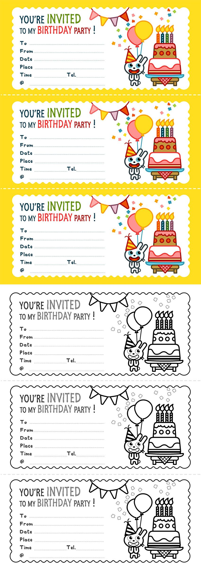 You Re Invited To My Birthday Party Invitation Card Card Invitation Birthday Printables Free Kids Printable Activities For Kids Free Printable Activities [ 2409 x 850 Pixel ]