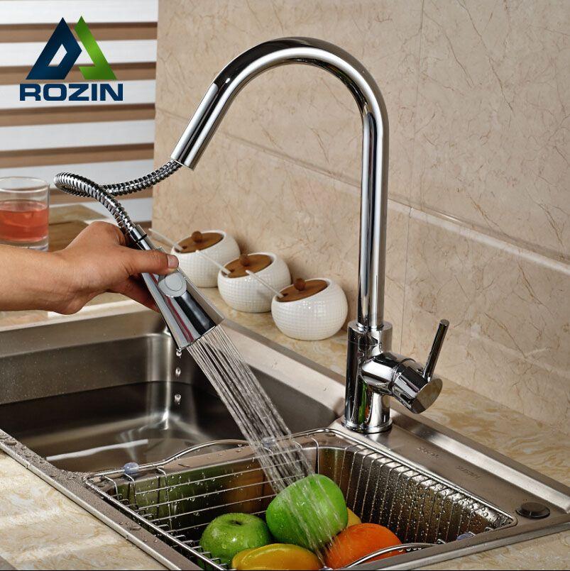 50 40 Buy Chrome Brass Rotation Dual Sprayer Kitchen Sink Faucet Deck Mount Kitchen Water Taps Pull Out Hot And Co Sink Mixer Taps Kitchen Faucet Mixer Taps