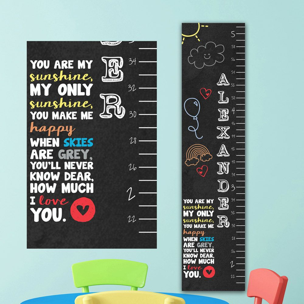 Chalkboard growth chart you are my sunshine personalized chalkboard growth chart you are my sunshine personalized canvas growth chart childrens wall nvjuhfo Image collections