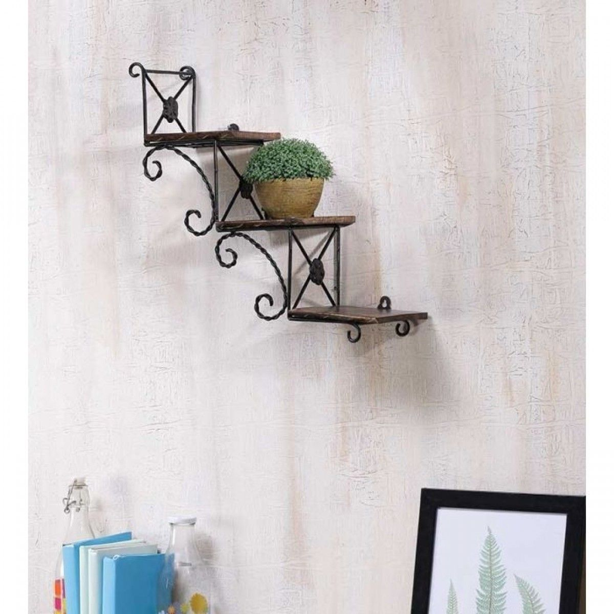 Onlineshoppee Beautiful Wooden Wall Hanging Shelve A Unique Wall Art In Stair  Shape