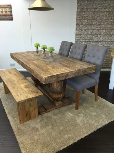 6Ft Anne Boleyn Dining Table Set With 1X Extra Wide Bench & 3X Endearing Dining Room Table Bench Seat 2018