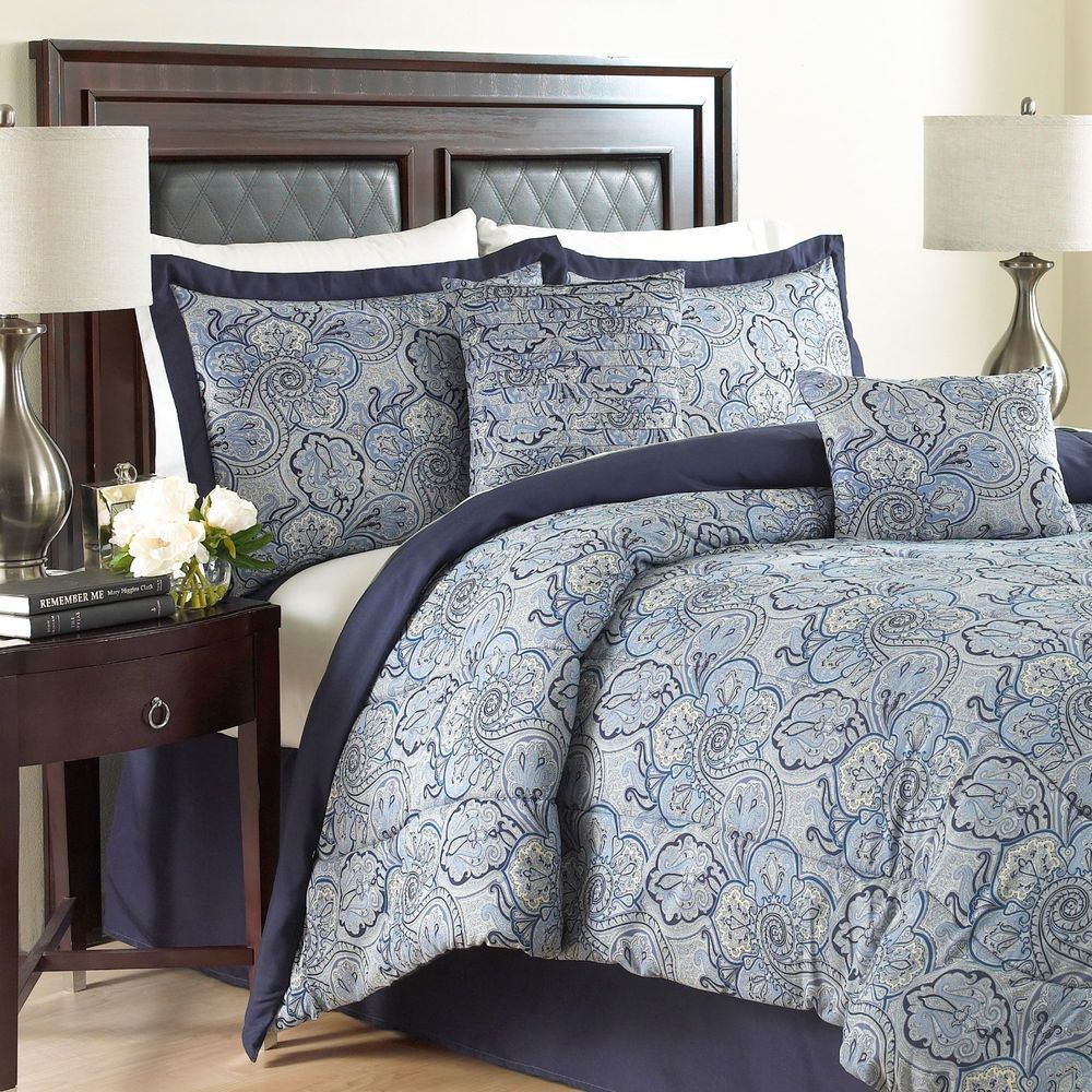 King Traditions By Waverly Paddock Shawl 6 Pc Blue Bedding Comforter