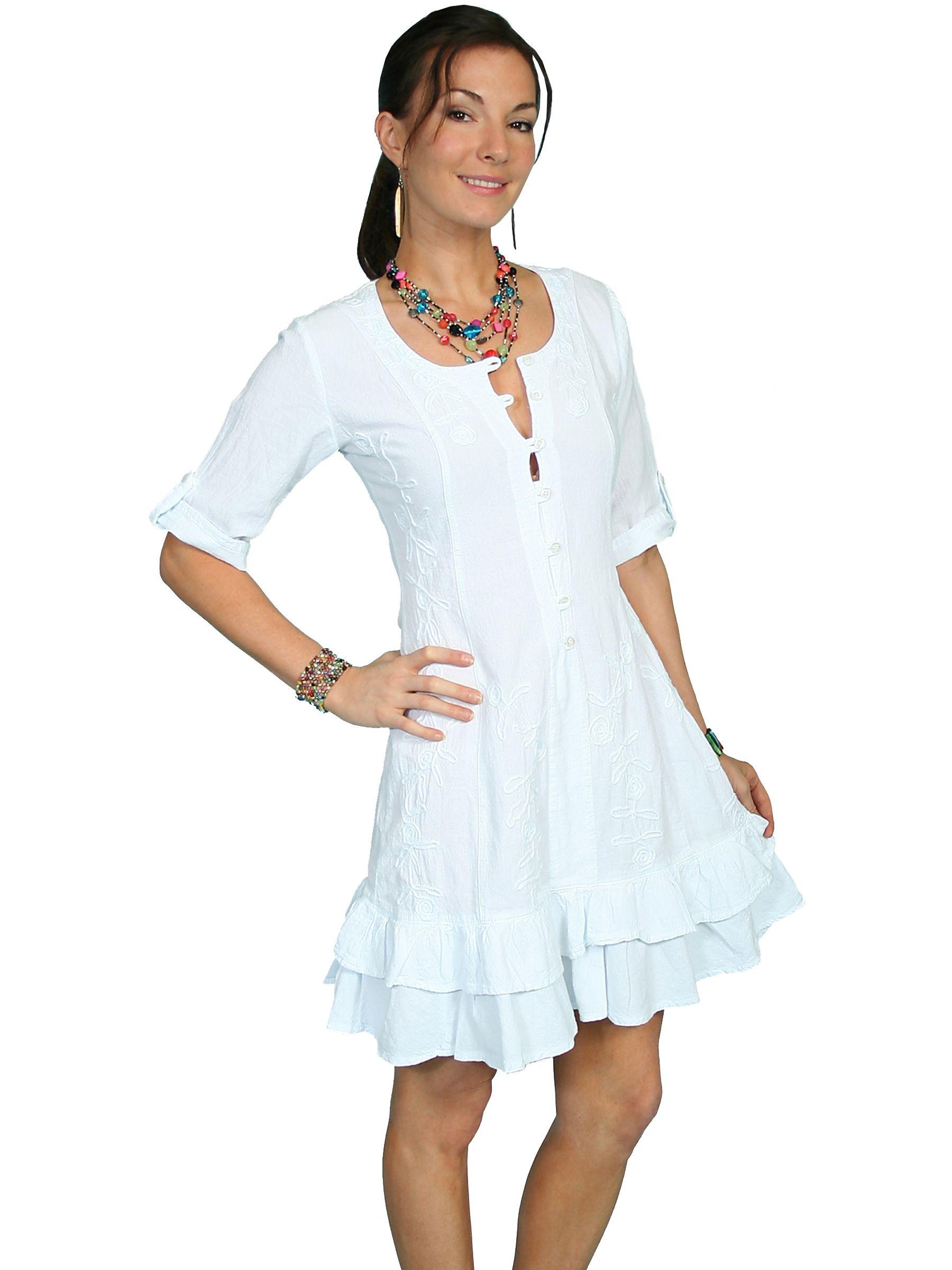 Scully Womens Peruvian Cotton 3 4 Sleeve White Short Dress 34dbc3a033