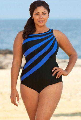 13728319a6f7e Delta Burke Royal Splice City High Neck Swimsuit Plus Size Swimsuit «  Clothing Impulse