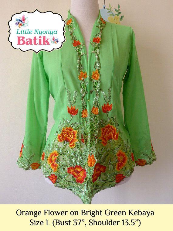 Size l peranakan nyonya kebaya basic quality motif flower on size l peranakan nyonya kebaya basic quality motif flower on green sciox Gallery