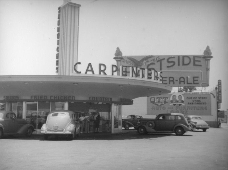Cars Park Around The Carpenters Located At 6285 Sunset Boulevard In This View Looking South Towards Vine Street Los Angeles California History Drive In Theater