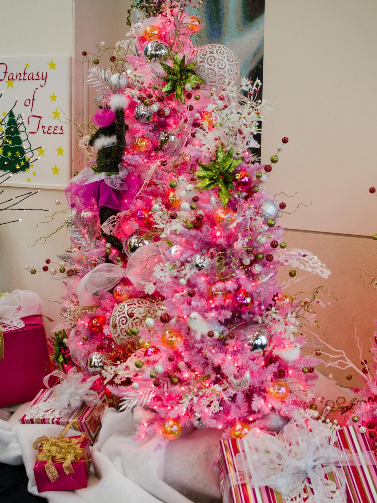 Use of bright pinks on a white tree by Holiday Decorating ...