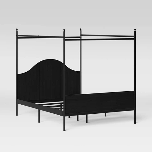 Queen Size Southwick Farmhouse Metal With Wood Panel And Canopy Bed Black Threshold Black Bedding Farmhouse Canopy Beds Farmhouse Style Bedding