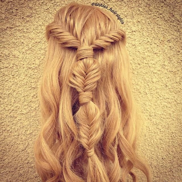 Two Lace French Fiahtails Into A Bubble Fishtail Braid With Some Loose Curls Braided Hairstyles For Wedding Hair Styles Braids With Curls
