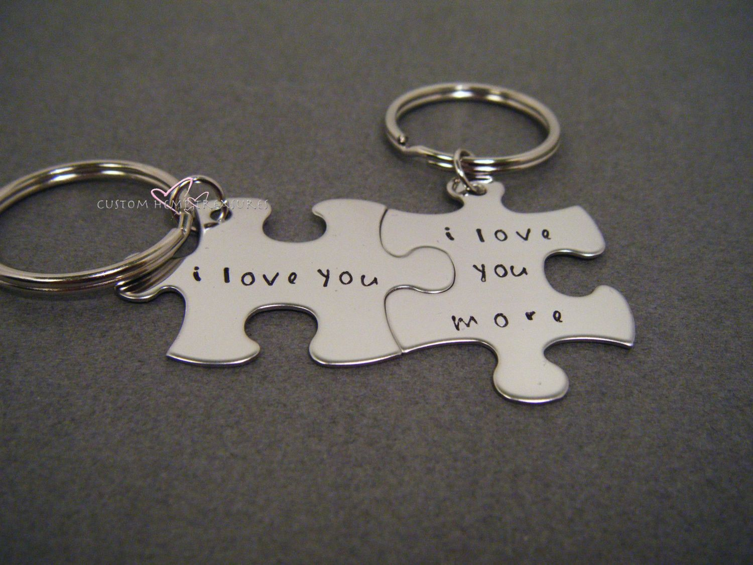 I love you i love you more keychains anniversary gift couples
