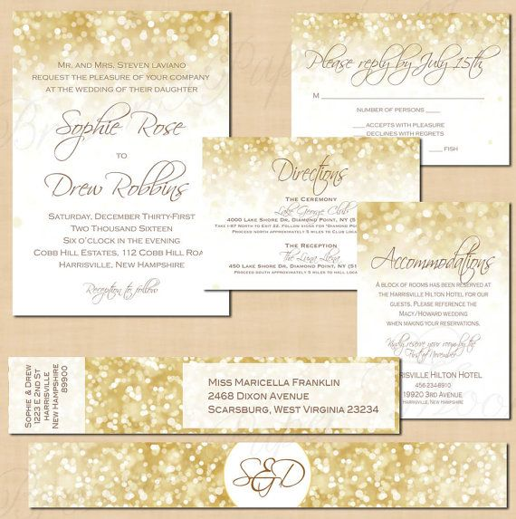 White Gold Sparkles Editable Suite: Invitation, RSVP, Inserts, Address Label, and Belly Band - Instant Download // $50.00