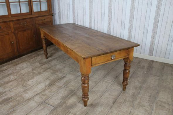Victorian Farmhouse Kitchen Table Large Pine Dining