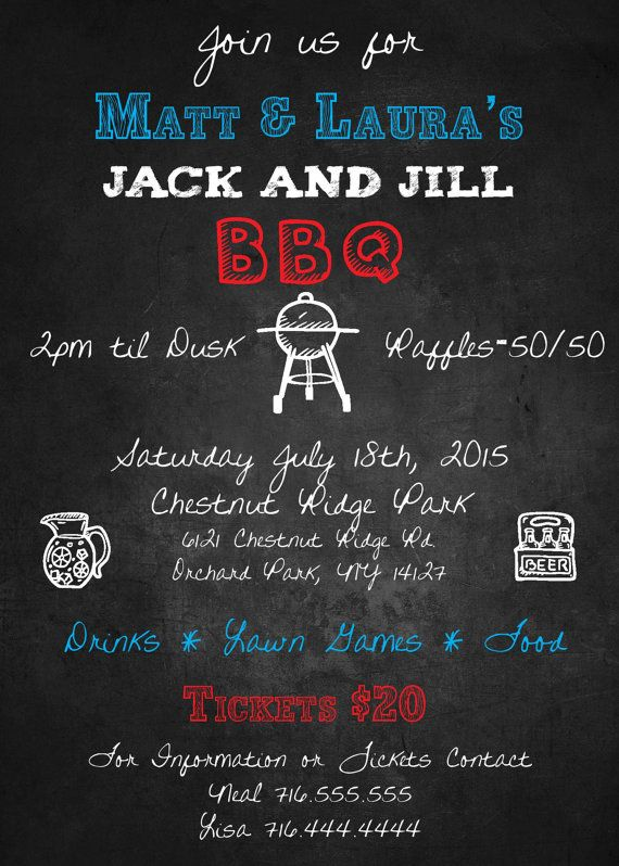 Jack and Jill BBQ Invitation DIGITAL CUSTOM by LawandusDesigns - fundraiser invitation