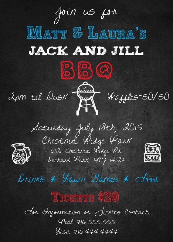 Jack And Jill Bbq Invitation Digital Custom Print Available Bbq Invitation Jack And Jill Jill