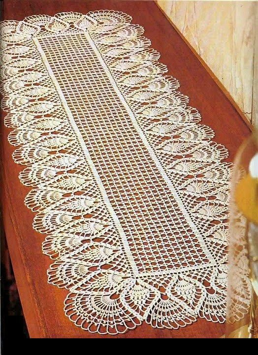 Crochet Doily Center Piece Table Runner Pattern Chart With