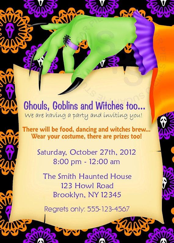 Printable Halloween Birthday Party Invitation Custom Personalized Digital File DIY