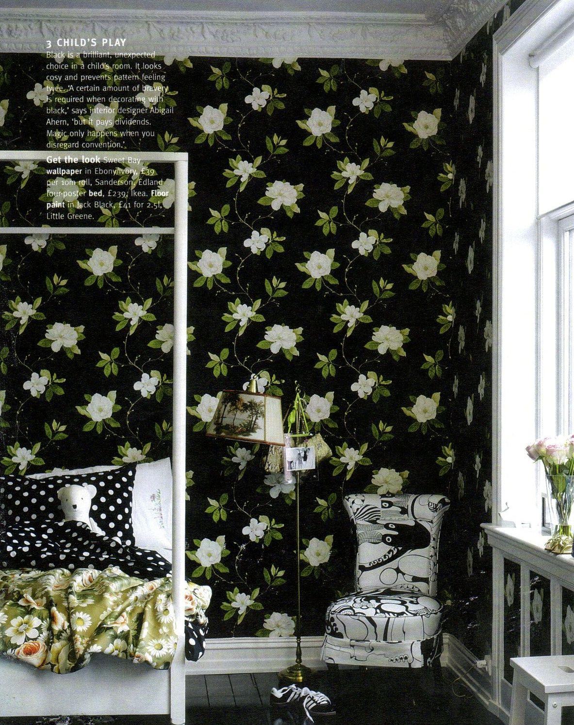 Sanderson wallpaper Magnolia wallpaper, Black floral