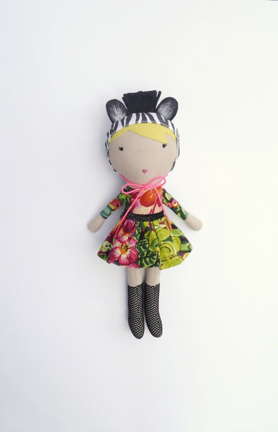 Soft fabric doll handmade toy rag doll zebra print by ohbAby1112