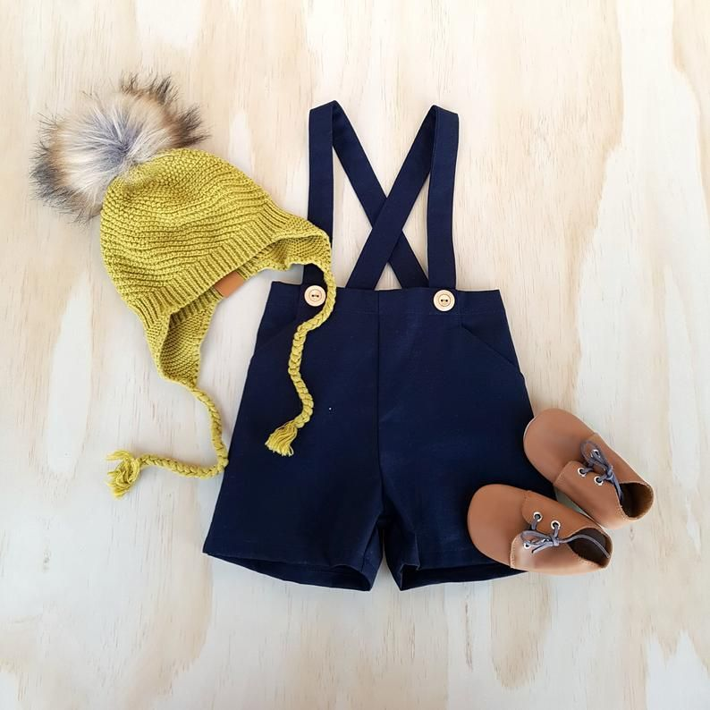 Boys navy blue linen pants with suspenders toddler