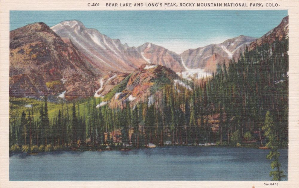 Colorado Bear Lake Long's Peak Rocky Mountain Park 1930s Linen Vintage Postcard