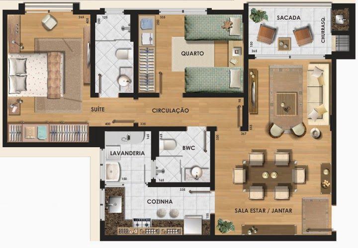 Planta apartamento 7x10 3 quartos pesquisa google home for Jardins mangueiral planta 3 quartos