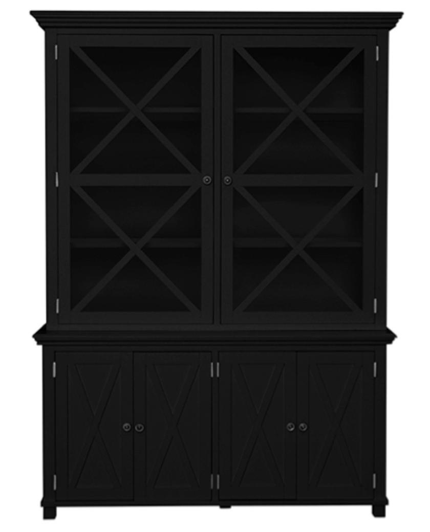 Sorrento Criss Cross Glass Door Cabinet Black