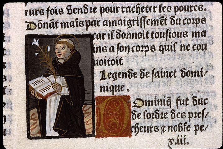 st Dominique, 1492, dans la Légende Dorée de Jacques de Voragine, UCO Angers, f 159