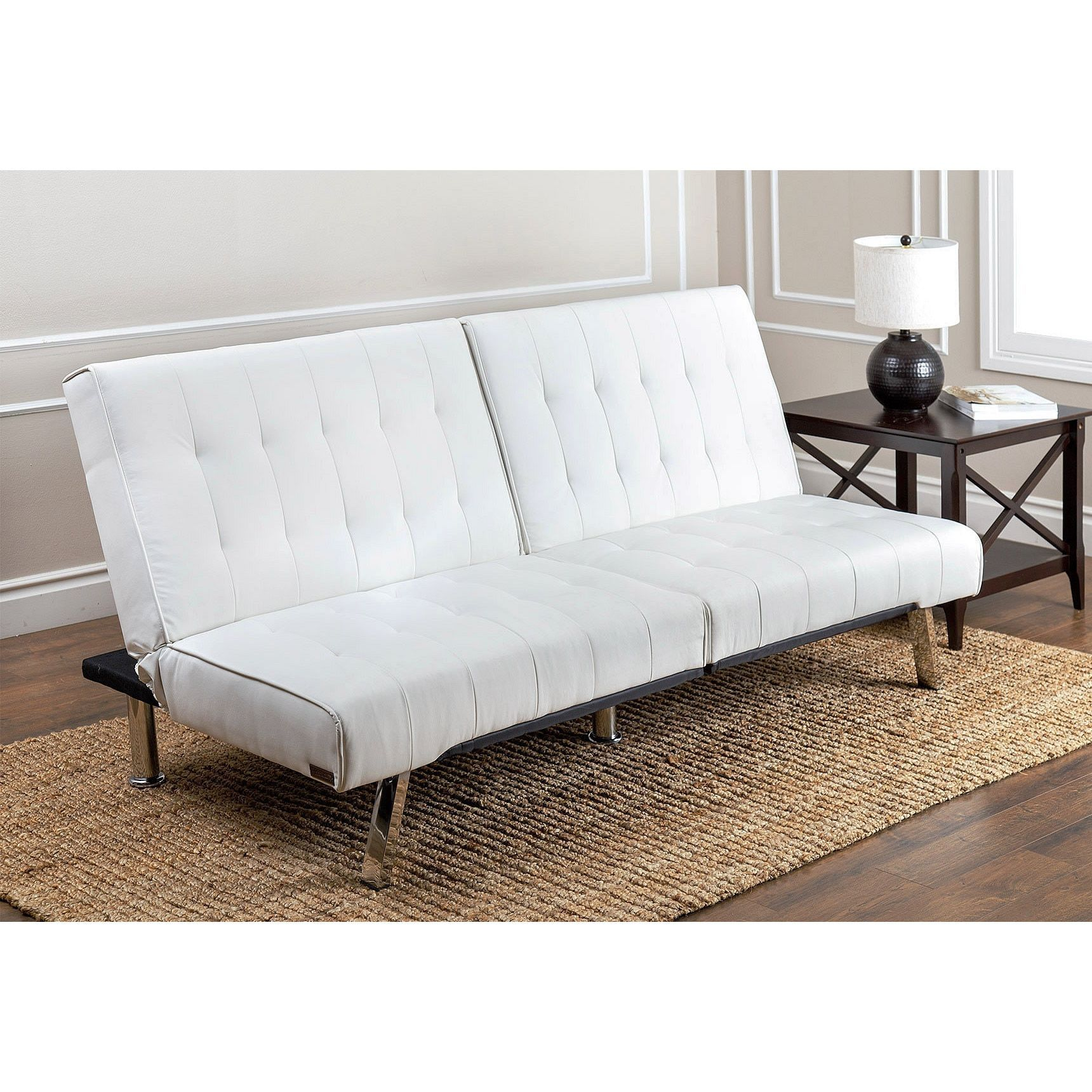 Abbyson Living Jackson Ivory Leather Foldable Futon Sofa Bed White Faux