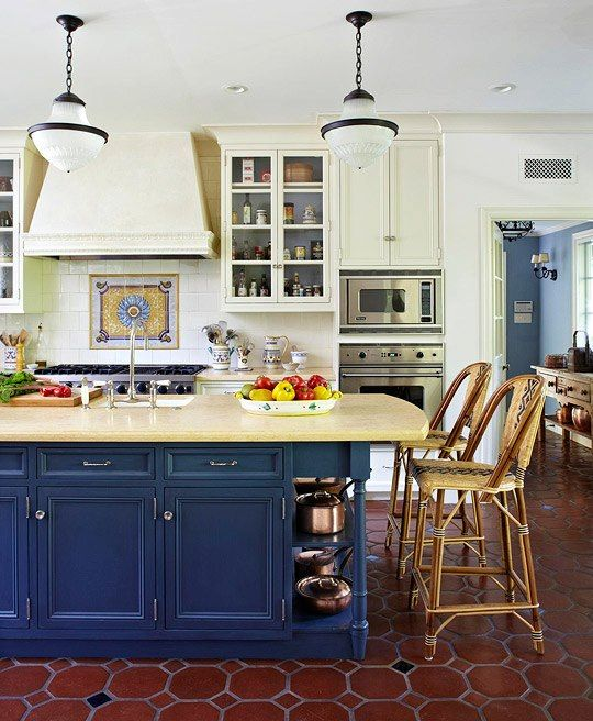 Blue Island But With Butcher Block Top White Other Cabinets With A