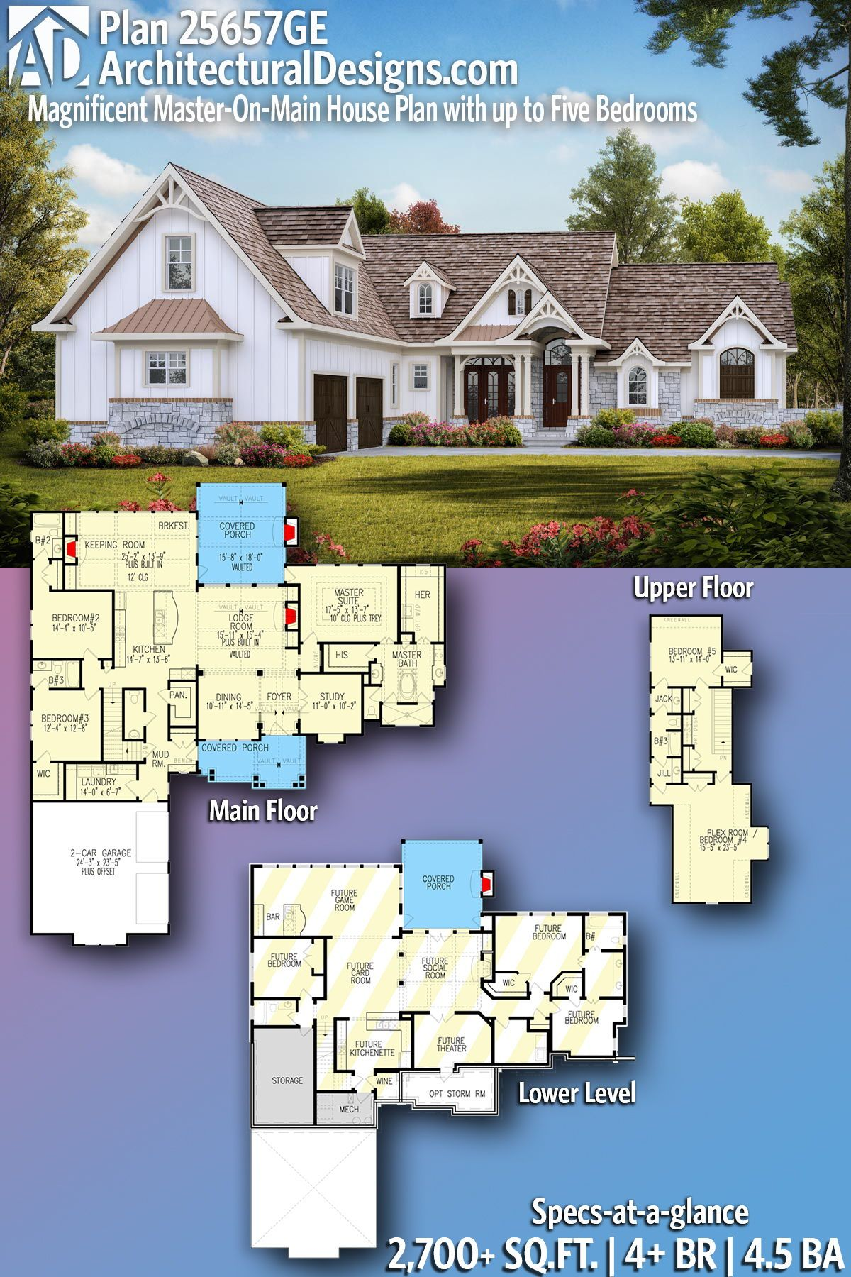 Plan 25657ge Magnificent Master On Main House Plan With Up To Five Bedrooms Maine House House Plans House