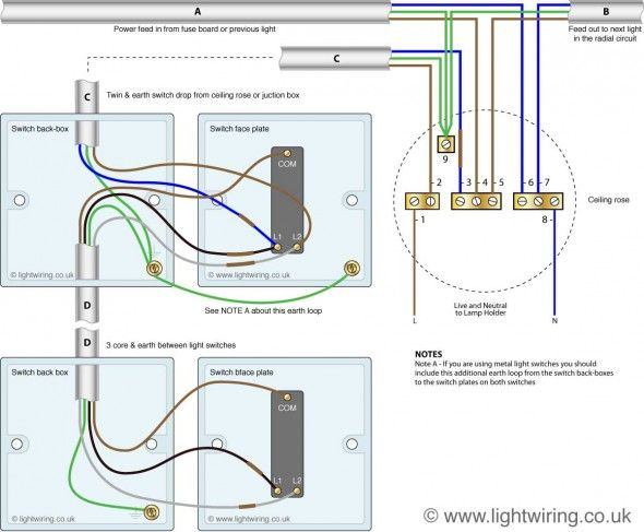 Two Way Switching 3 Wire System New Harmonised Cable Colours Light Wiring Light Switch Wiring Lighting Diagram Electrical Switch Wiring