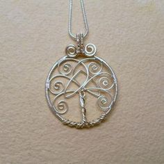 Tree of Life Pendant Necklace With Celtic Trinity Knot, Silver ...