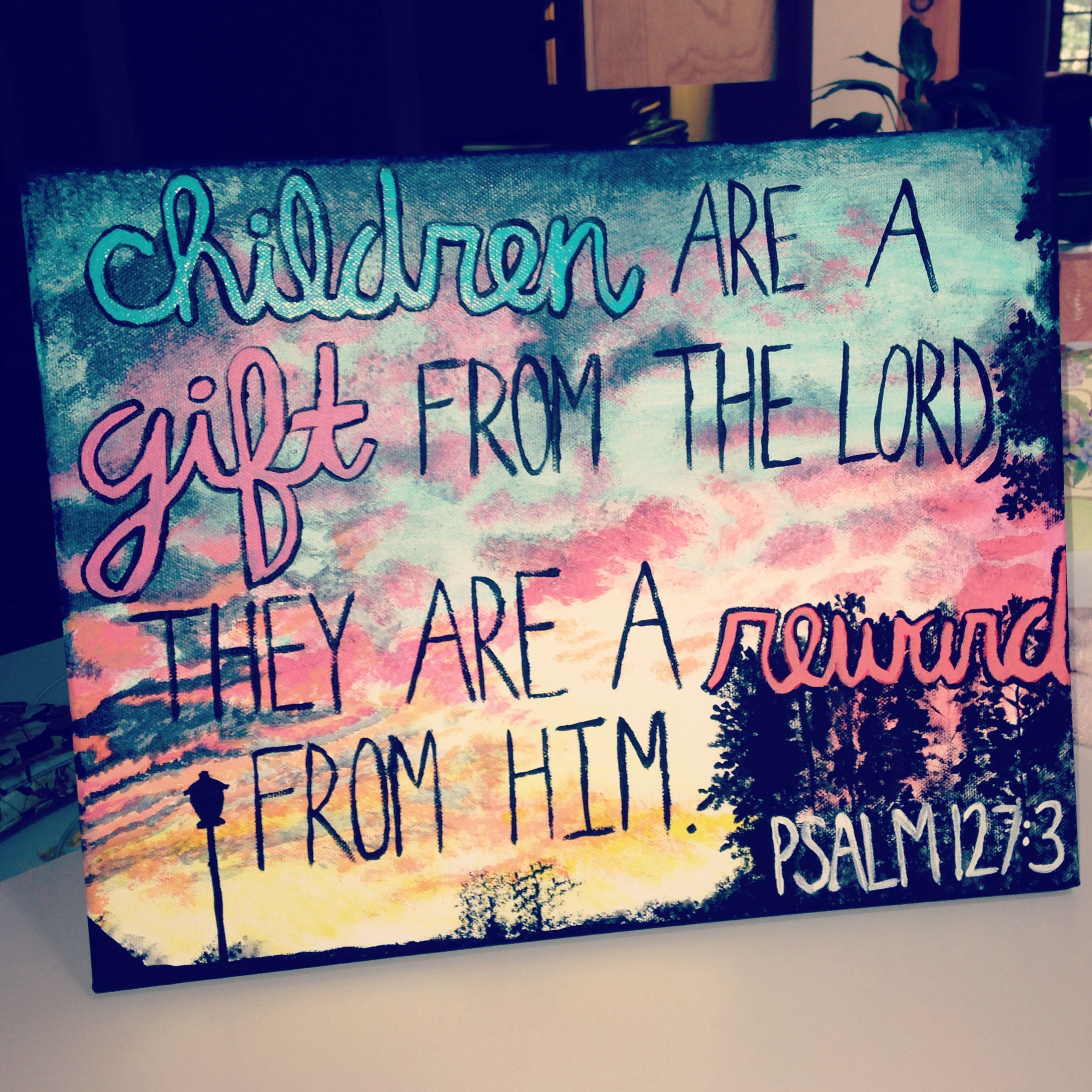 Spiritual Baby Shower Quotes: Painting In Acrylic With Bible Verse, Great For Baby