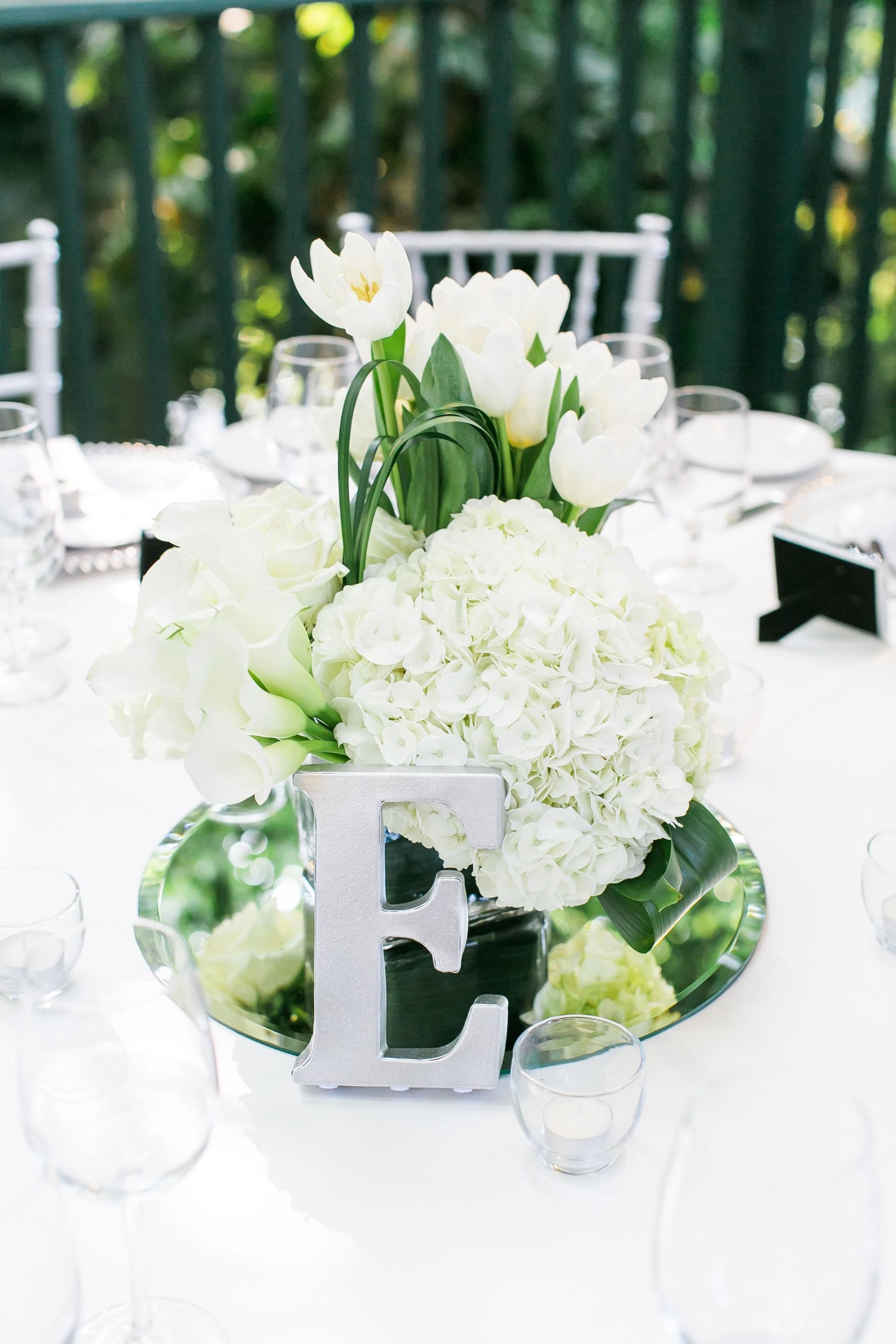 The Smarter Way to Wed | White floral centerpieces, White tablecloth ...