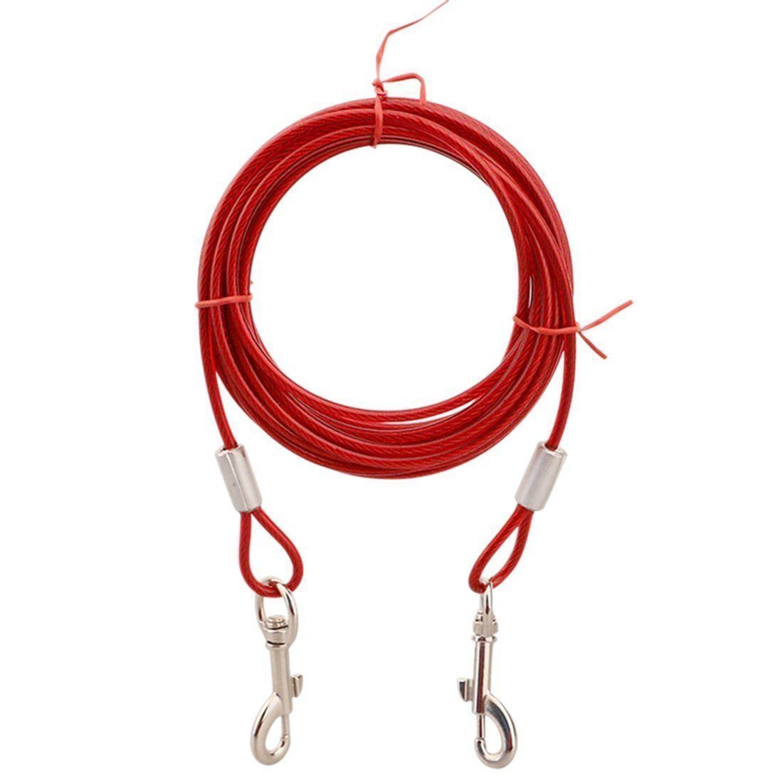 Tieout Cable Reekey Dog Leash Steel Wire Rope For Pet Training Red Red 5m Check This Awesome Product By Going To The Link At The Dog Tie Rope Dog Dog Leash