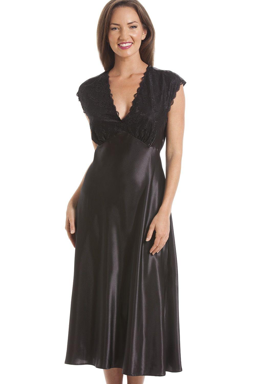 Camille Womens Ladies Nightwear Luxury Black Lace Satin Chemise Nightdress