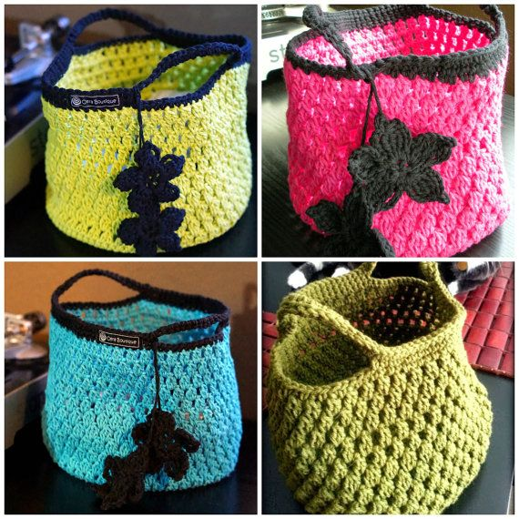 Instant Download Pdf Easy Crochet Pattern Cotton Crochet Tote