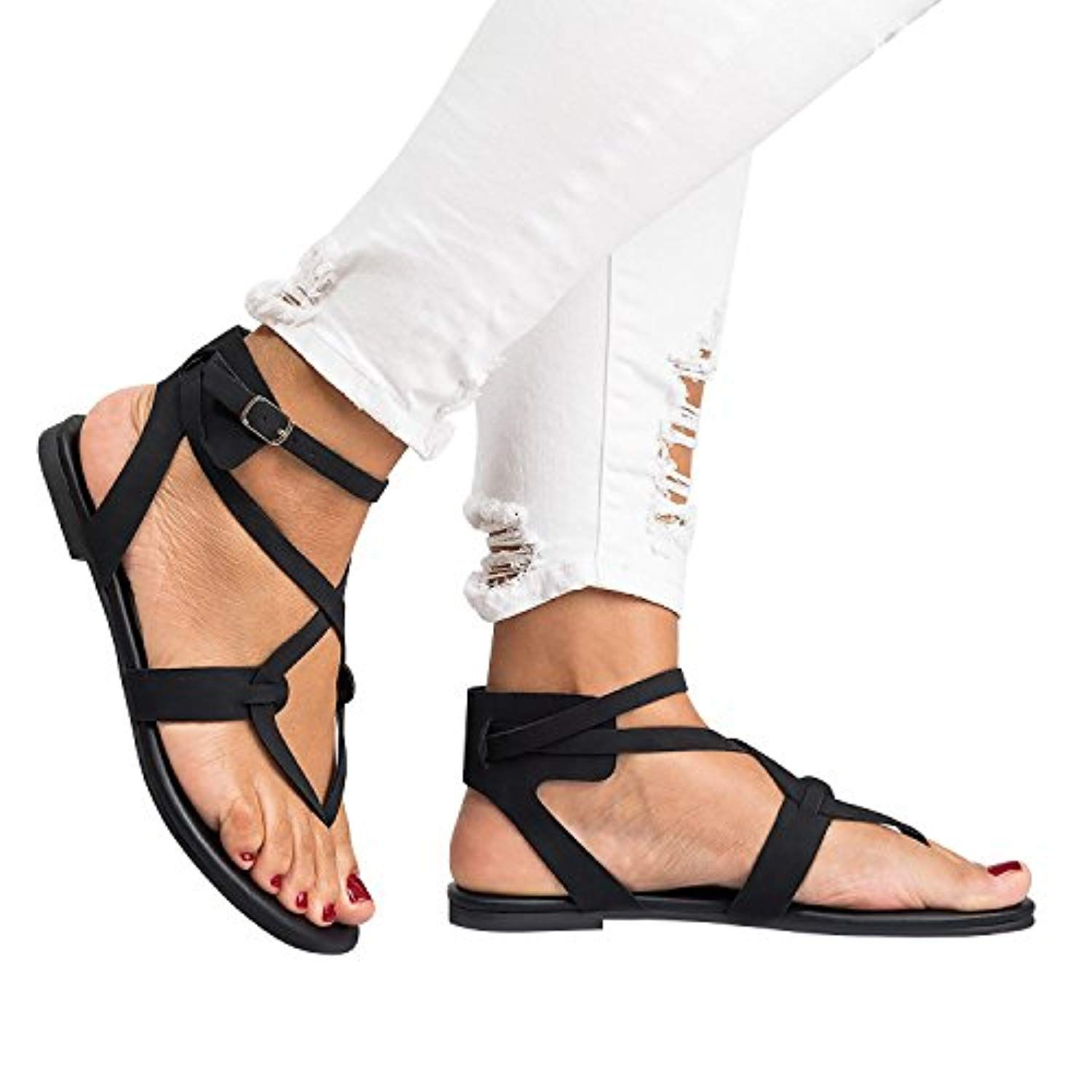 192edcf53b1 Womens Flip Flops Buckle Strap Summer Beach Flat Gladiator Sandals  Crisscross with Heels    Click image for more details. (This is an  affiliate link)   ...