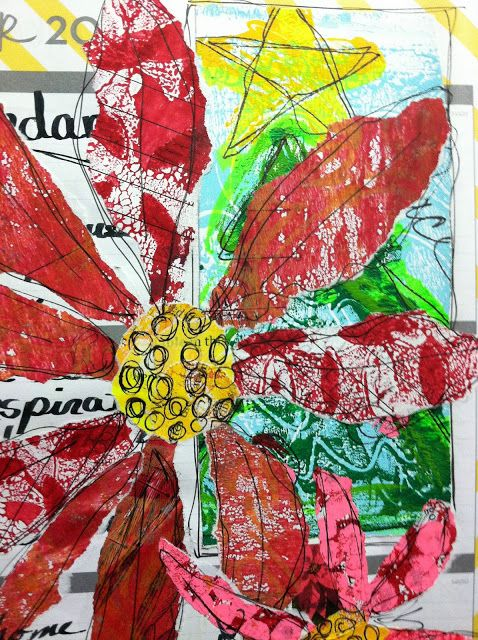 GORGEOUS! Torn Gelli printed papers used to make poinsettia flowers in 'No Excuses Journal'.