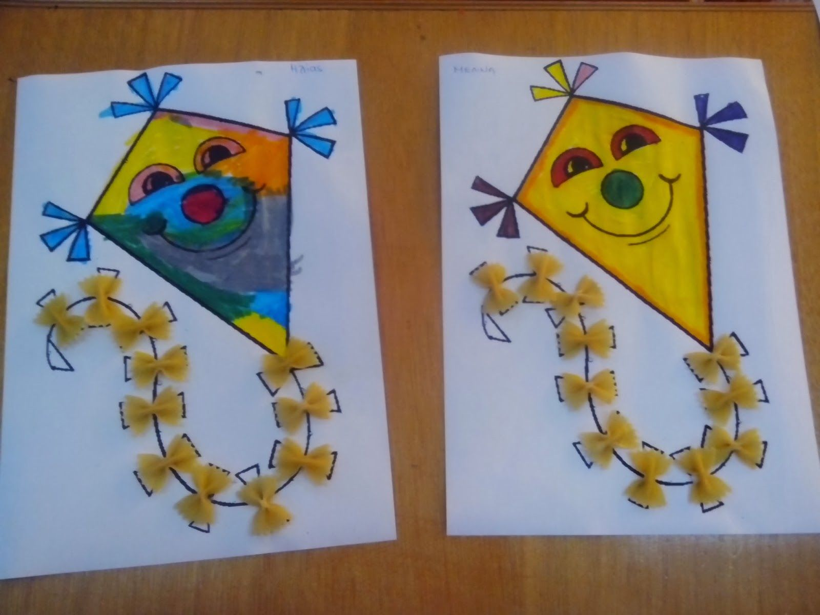 Maro S Kindergarten Kites Collage With Pasta K Is For