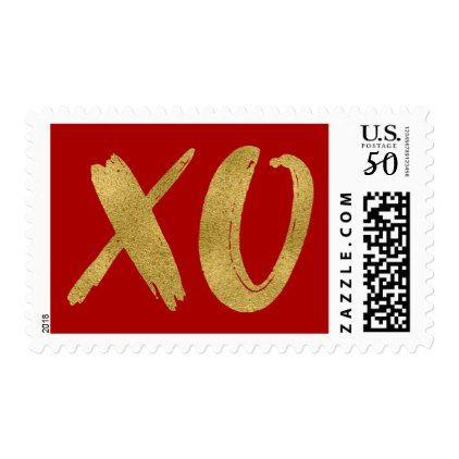 Brushed Gold Foil Xoxo Valentine Postage Stamp  Holiday Card Diy