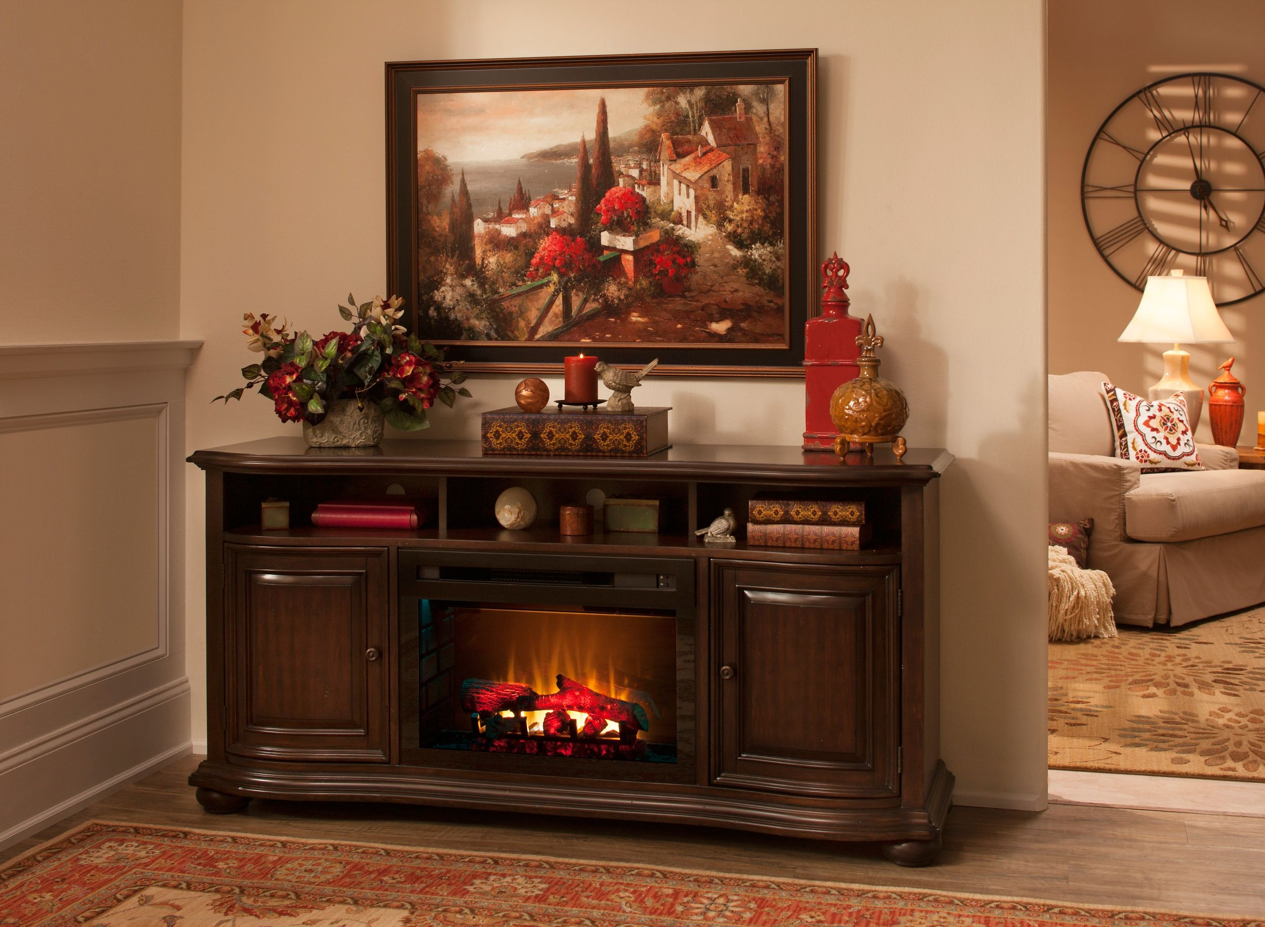 henderson 66 tv console w 25 electric log fireplace electric