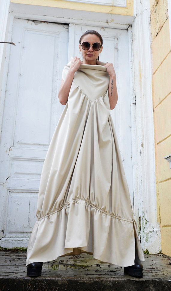 Asymmetric Loose Long Dress/Cream Color Kaftan/Oversize Sleeveless ...