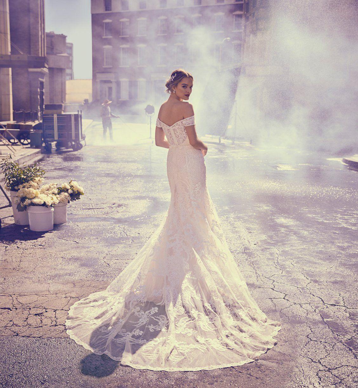 Beaded Lace Off The Shoulder Mermaid Wedding Dress Davids Bridal