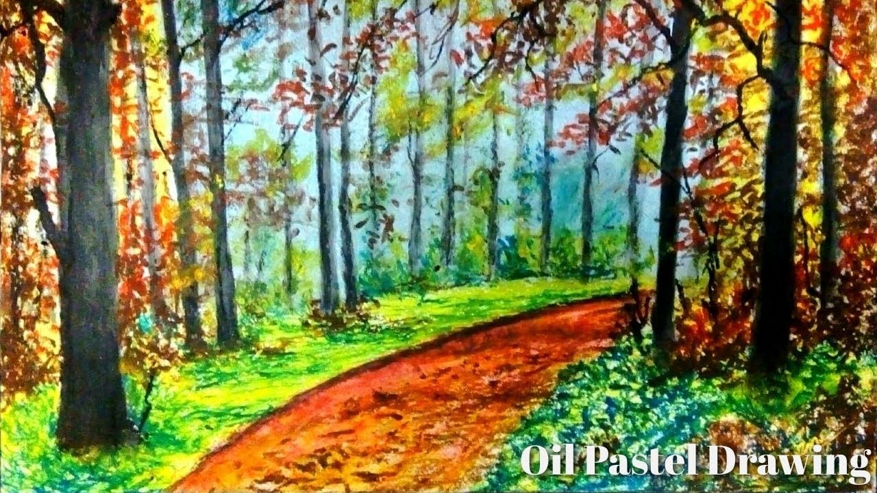 Easy Drawing How To Draw Save Forest Drawing Autumn Forest Scenery In 2020 Oil Pastel Landscape Easy Landscape Paintings Landscape Paintings