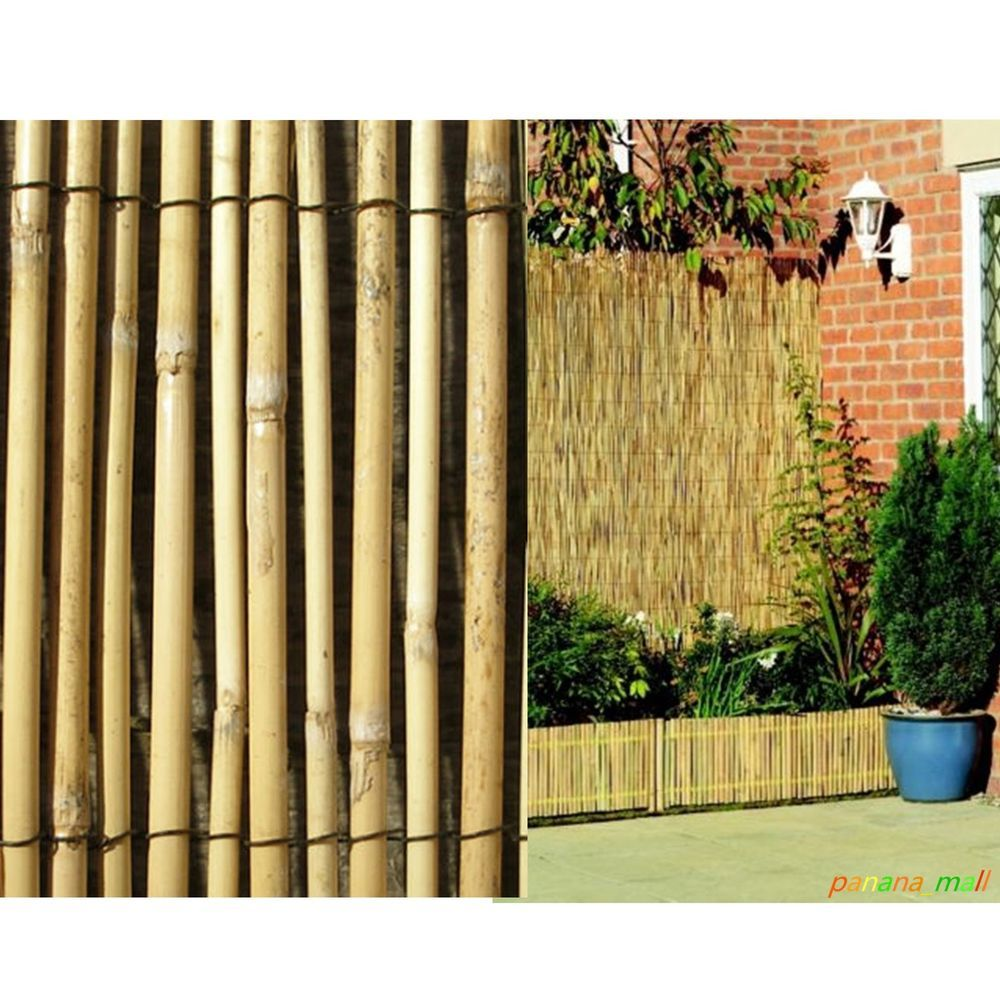 4M Natural Peeled Reed Screening Roll Garden Screen Fence