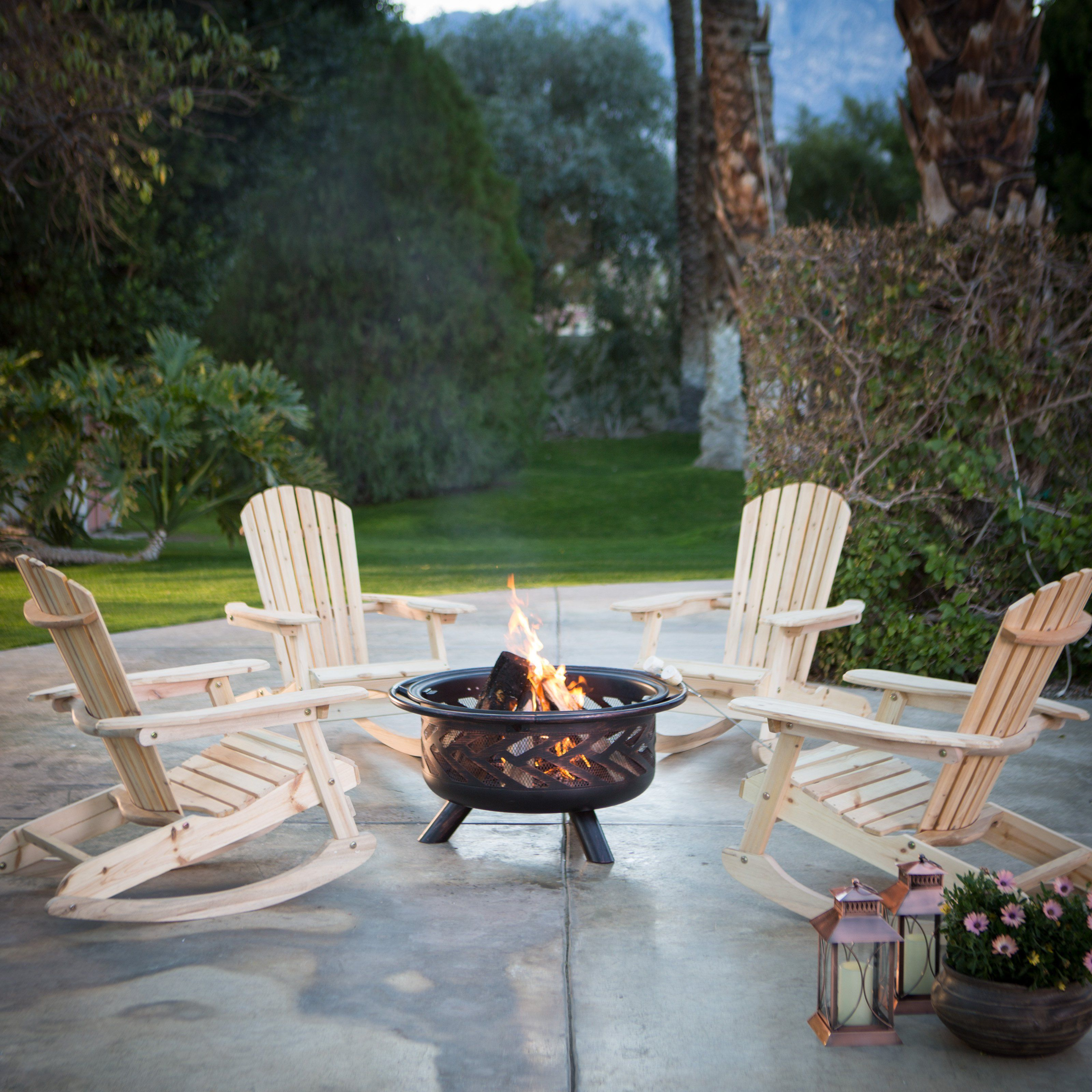 Coral Coast Adirondack Rocking Chair Fire Pit Chat Set