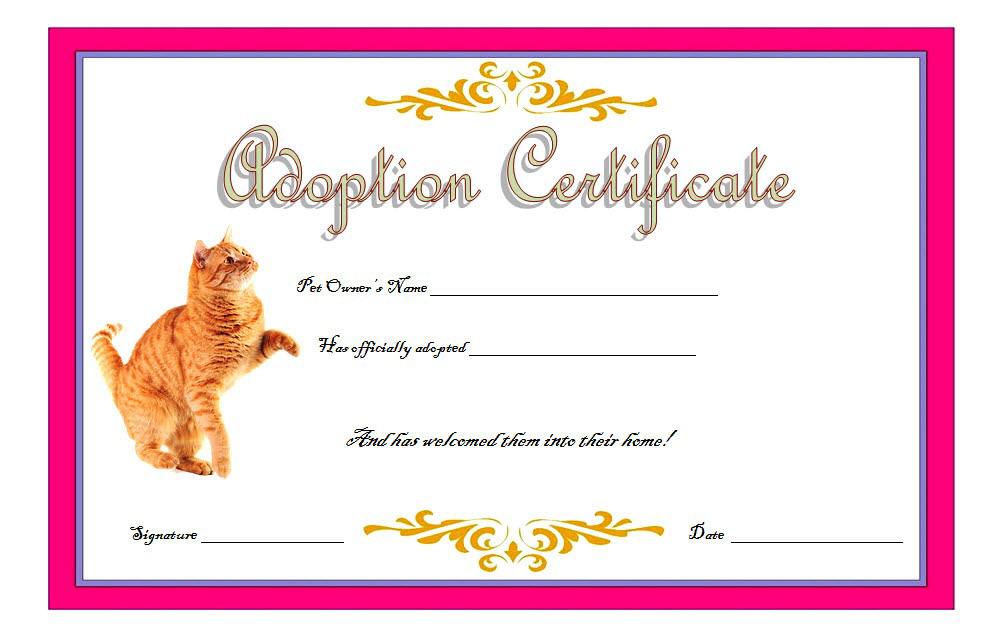 Cat Adoption Certificate Template FREE 6, a fancy design