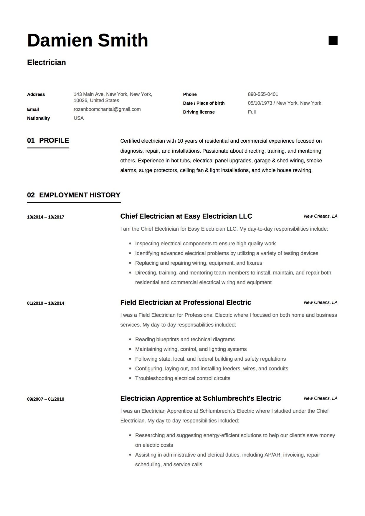 Free Electrician Resume Sample, Template, Example, CV ...